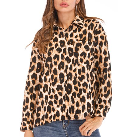 bf4569228896 Lelinta - LELINTA Women's Sexy Long Sleeve Button Sheer Leopard Print  Chiffon Blouse Tops T-shirts L-4XL - Walmart.com