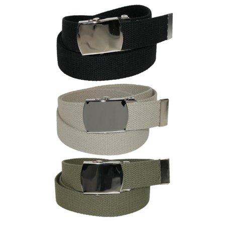 CTM Cotton with Nickel Buckle Adjustable Belt (Pack of 3 Colors) - image 1 de 1