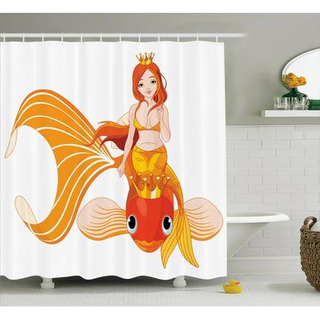 Mermaid Decor Shower Curtain Set Pretty Princess Mermaid Riding On A Golden Fish Swimming