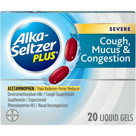 Alka-Seltzer Plus Severe Cough, Mucus and Congestion, Liquid Gels, 20