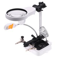 DIY PCB Soldering Desk Magnifier Warm and Cold Color Temperature LED Light Magnifiers Soldering Iron Helping Hands Auxiliary Clamp Alligator Clip Third Hand Welding Solder Vise