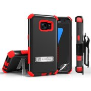 GALAXY S7 CASE CLIP, RED RUGGED TRI-SHIELD KICKSTAND CASE COVER + BELT CLIP HOLSTER + SCREEN PROTECTOR FOR SAMSUNG GALAXY S7 SM-G930