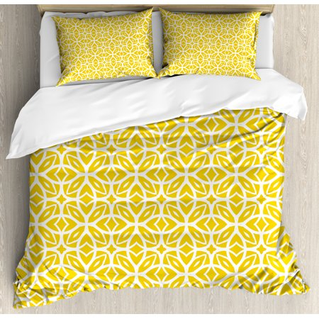 Yellow And White King Size Duvet Cover Set  Geometric Art Pattern With Lacing Shapes 30S Style Spring Fashion  Decorative 3 Piece Bedding Set With 2 Pillow Shams  Earth Yellow White  By Ambesonne