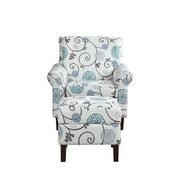 Blue Floral Armchair with Ottoman