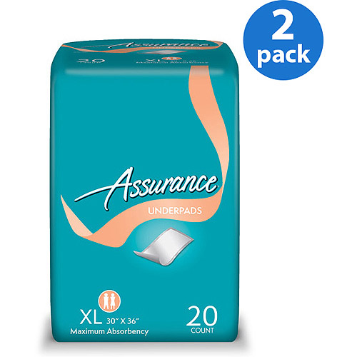 Assurance Extra Absorbency Protective Underpads, 20 ct ea, 2pk
