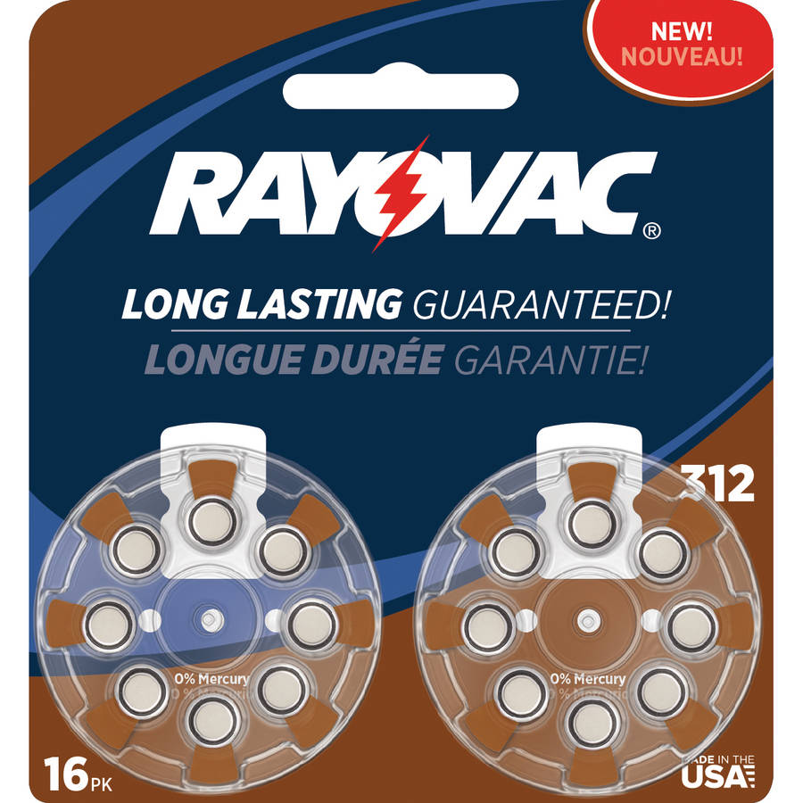 Rayovac Type 312 Hearing Aid Batteries, 16-Pack