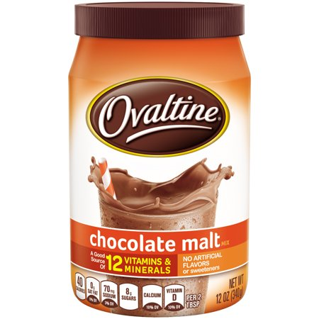 (2 Pack) OVALTINE Chocolate Malt Flavored Milk Mix 12 oz.