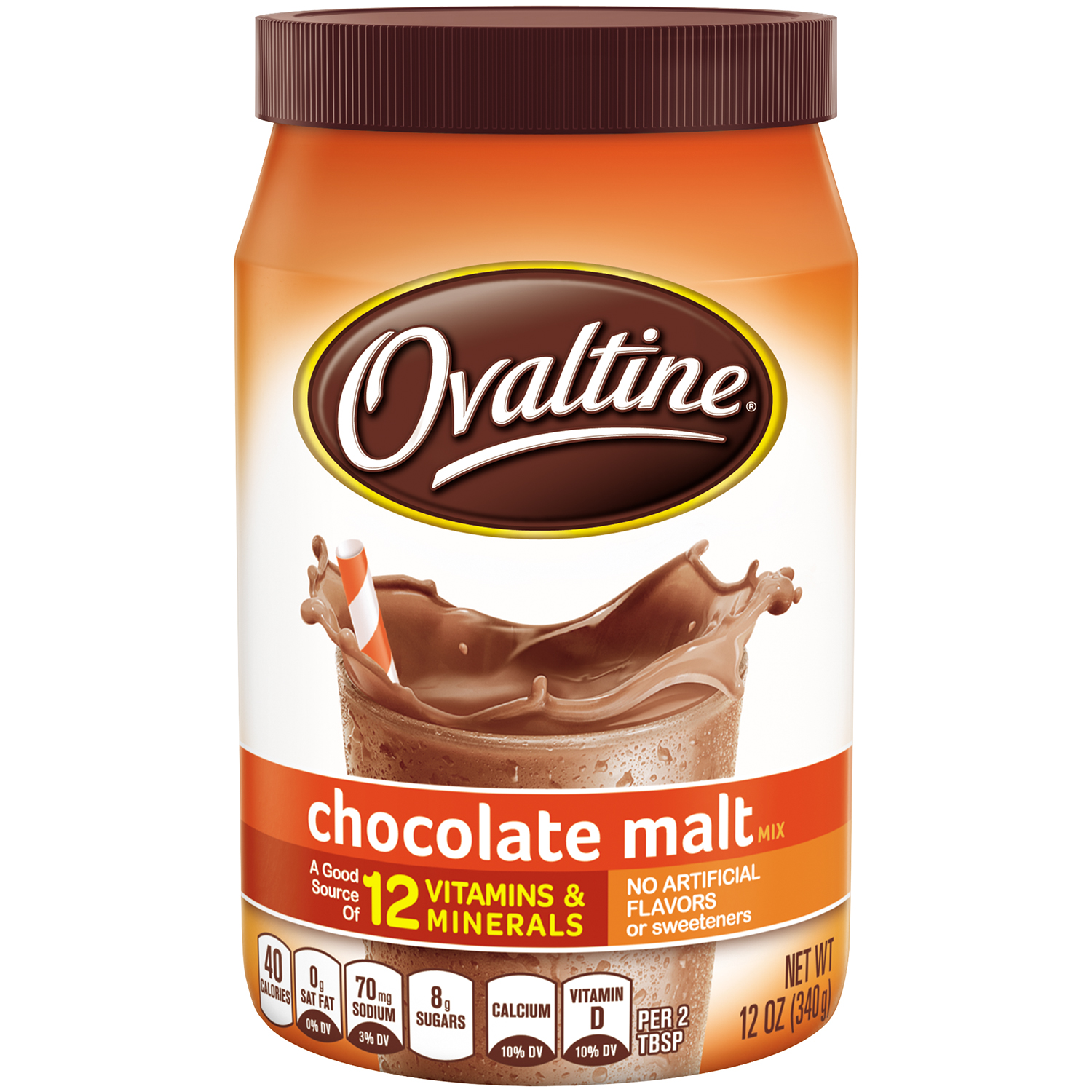 OVALTINE Chocolate Malt Flavored Milk Mix 12 oz. Canister