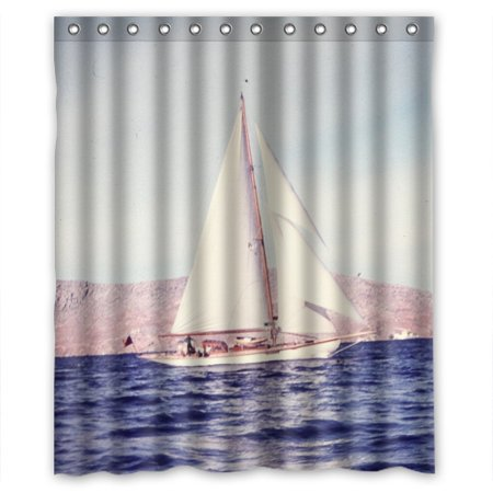 Ganma Sailing Boat Shower Curtain Polyester Fabric Bathroom 60x72 Inches