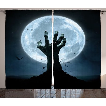 Halloween Story Map Graphic Organizer (The Holiday Aisle Halloween Decorations Zombie Earth Soil Full Moon Bat Horror Story October Twilight Themed Graphic Print & Text Semi-Sheer Rod Pocket Curtain Panels (Set of)