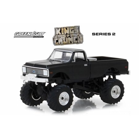 1972 Chevy K-10 Monster Truck, Black - Greenlight 49020F/48 - 1/64 Scale Diecast Model Toy Car 10 Scale Trucks