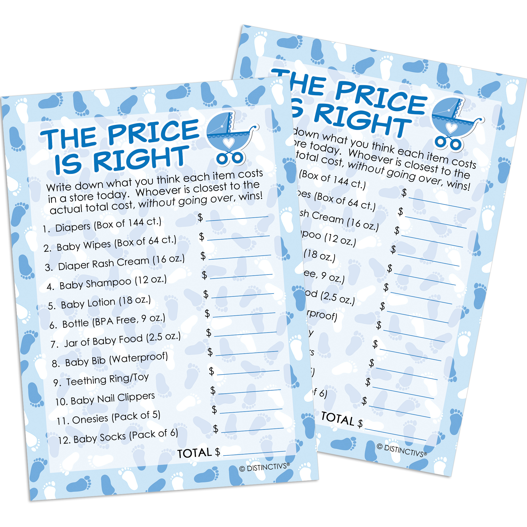 Blue Boy Baby Shower Game - The Price Is Right (Set of 20)