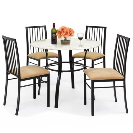 Marble Top Solid Wood (Best Choice Products 5-Piece Faux Marble Top Dining Table and Chairs Set )