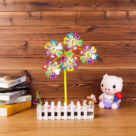 Cartoon Unique Plastic Windmill Kids Pinwheel Toy Garden Lawn Party Decor Toy Color:Five-wheel windmill - Pinwheel Toy