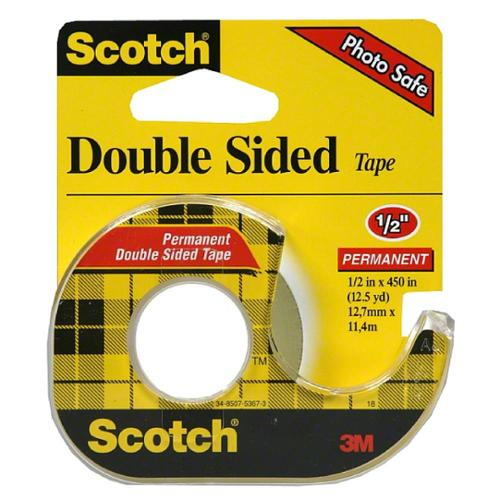 """Scotch Double Sided Tape With Dispenser, 1/2"""" x 450"""" 1 ea (Pack of 3)"""