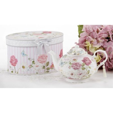 delton products pink grace pattern porcelain teapot with matching keepsake box Tea Pot Trinket Box