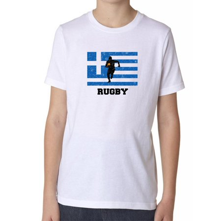 Greece Olympic - Rugby - Flag - Silhouette Boy's Cotton Youth