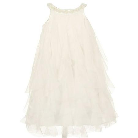 Kids Dream Girls Ivory A-line Swirl Mesh Ruffle Flower Girl Dress 8