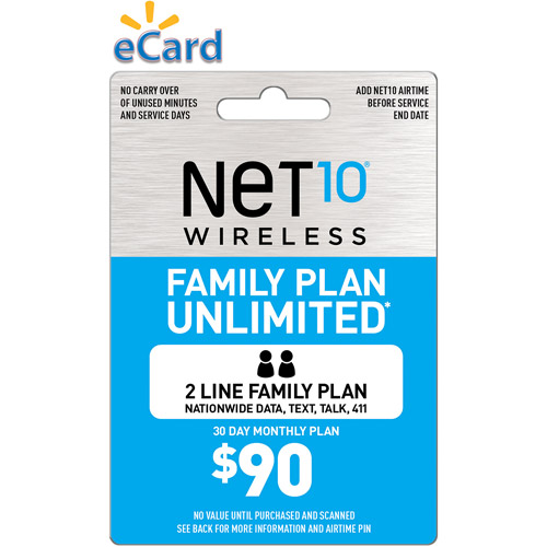 (Email Delivery) Net10 Family Plan 2 Unlimited $90