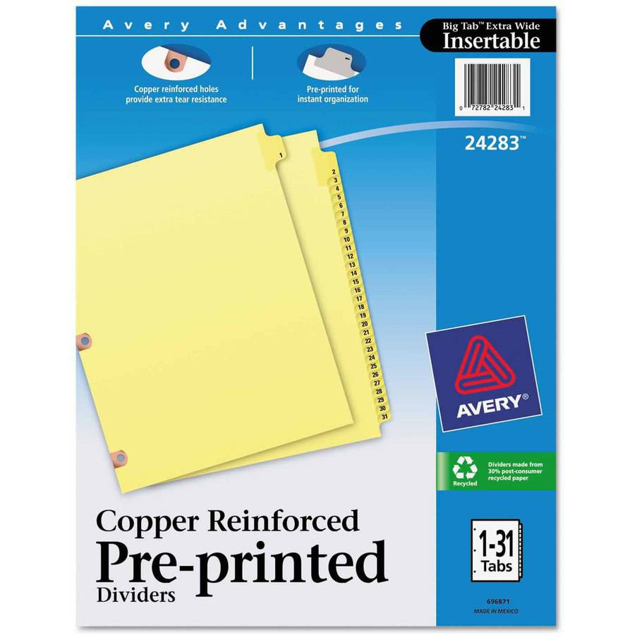 Avery Preprinted Laminated Tab Dividers with Copper Reinforced Holes, 31-Tab, Letter