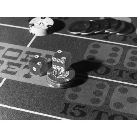 Chips and Dice on Craps Table Print Wall Art - Craps Table Measurements