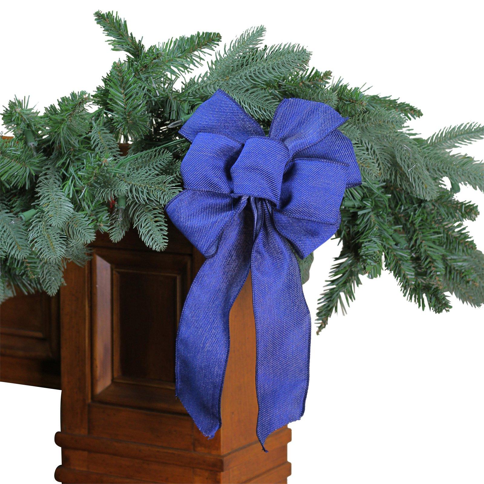 Northlight 6 Loop Denim Christmas Bow Decoration