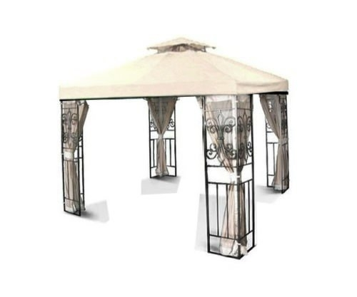 Flexzion 10u0027x10u0027 Gazebo Replacement Canopy Top Cover (Ivory) - Dual Tier with Plain Edge Polyester UV30 Waterproof for Outdoor Garden Patio Pavilion Sun ...  sc 1 st  Walmart : ivory canopy - afamca.org