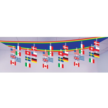 Ceiling Hanging Decorations (Pack of 6 International Flags of the World Hanging Ceiling Party Decorations)