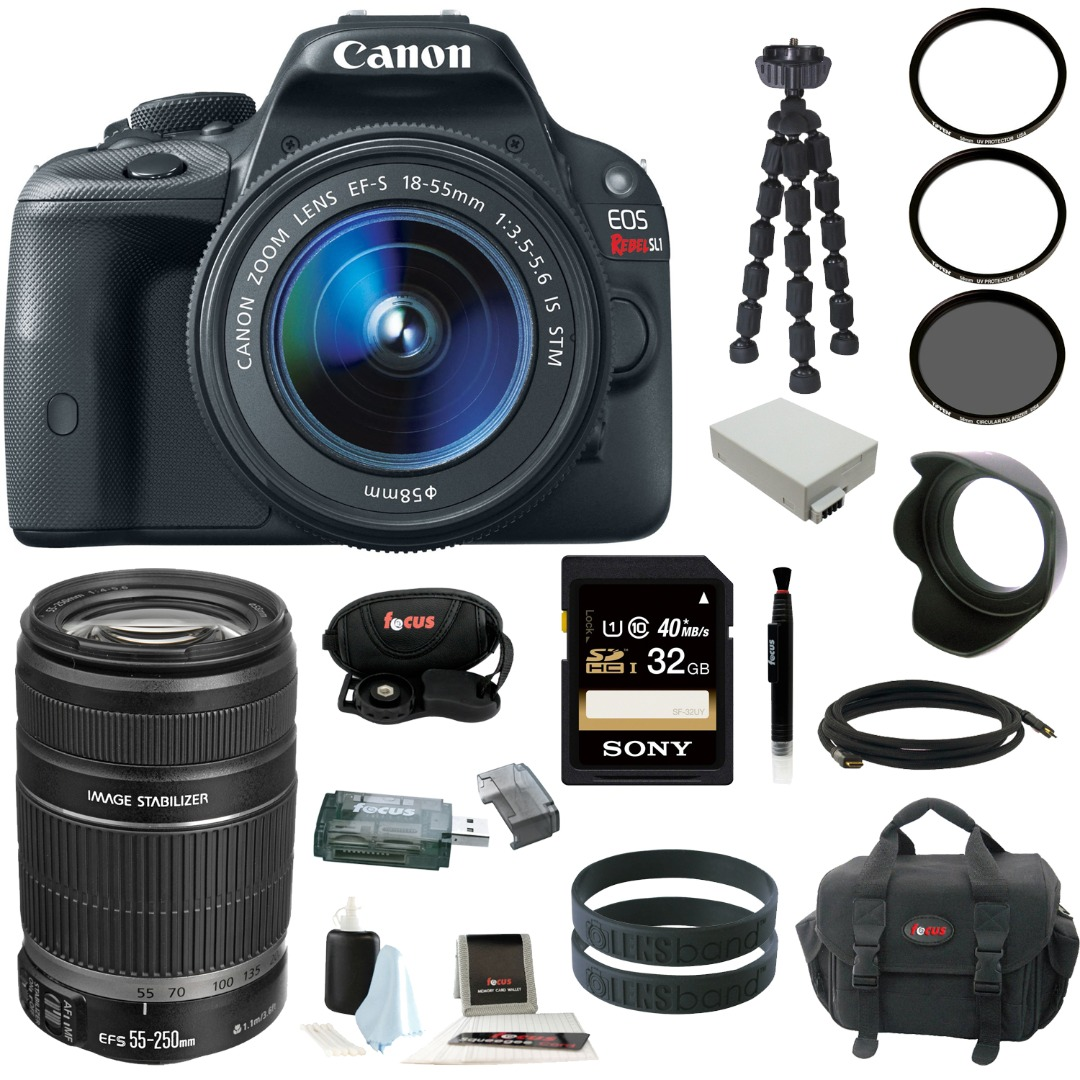 Canon EOS Rebel SL1 with EF-S 18-55mm IS STM Lens and Canon EF-S 55-250mm f/4.0-5.6 IS II Telephoto Zoom Lens plus 32GB Deluxe Accessory Bundle