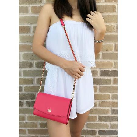 36839c827f5 Tory Burch - Tory Burch Parker Chain Wallet Leather Crossbody Handbag Red  Ginger - Walmart.com