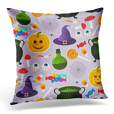 ECCOT Related Halloween Holiday Object Silhouettes on Purple Traditional Witches Attributes Bright Pillowcase Pillow Cover Cushion Case 16x16 inch
