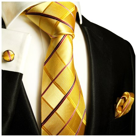 3ed78fb182d6 Paul Malone - Extra Long Gold Plaid Paul Malone Silk Tie with Accessories -  Walmart.com