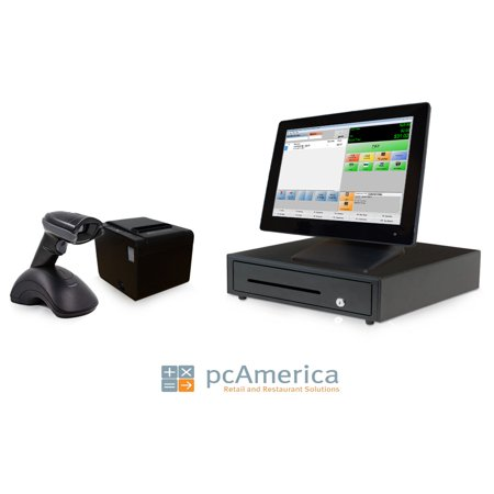 Retail Point of Sale System - includes Touchscreen PC, POS Software (CRE), Receipt Printer, Wireless Scanner, Cash Drawer, and Credit Card Swipe
