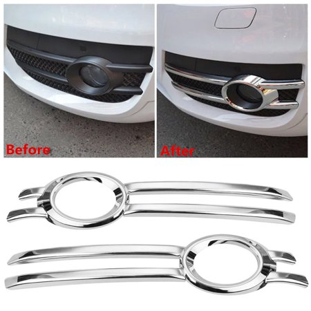 2Pcs Chrome Front Fog Bumper Grill Light Cover Trim Bezel Frame Garnish For Q5 2009-2012   - image 6 of 6