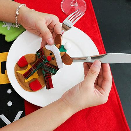 Holiday Time Christmas Decoration Holder Pocket Knife Fork Storage Bag Table Decor Xmas (Holiday Table Decoration)