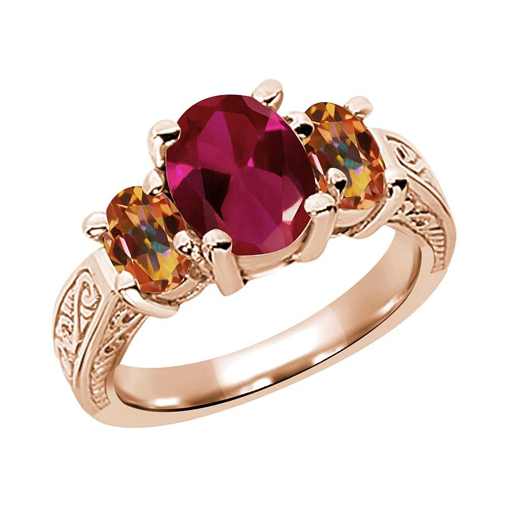 Created Ruby and Ecstasy Mystic Topaz 925 Rose Gold Plated Silver 3-Stone Ring