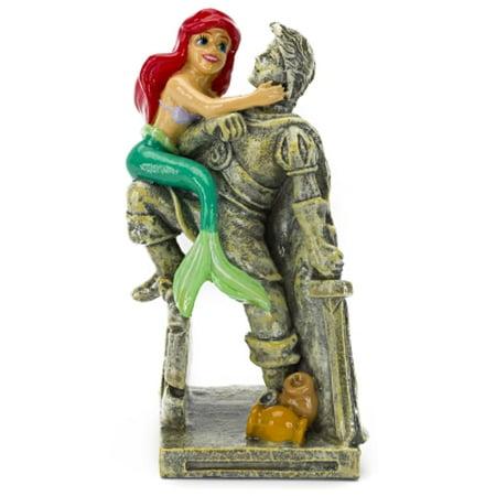 Penn-Plax Disney's Little Mermaid Ariel with Eric Statue Aquarium Ornament, Medium Ceramic Fish Statue