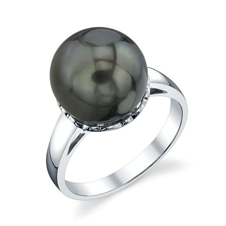 10 Mm Pearl Ring - 10mm Tahitian South Sea Cultured Pearl Laurel Ring