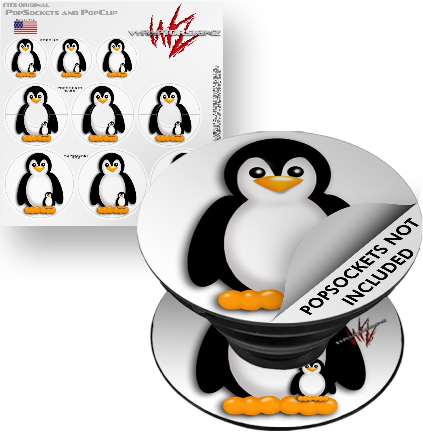 Decal Style Vinyl Skin Wrap 3 Pack for PopSockets Penguins on White (POPSOCKET NOT INCLUDED) by WraptorSkinz