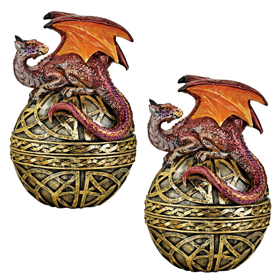 Shield of the Celtic Orb Dragon Statue: Set of Two
