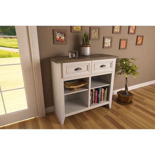 Entryway Console Table, White and Oak