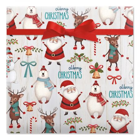 Santa & Friends Jumbo Christmas Rolled Gift Wrap - 67 sq. ft.