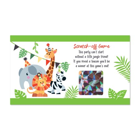 Jungle Party Animals - Safari Zoo Animal Birthday Party or Baby Shower Scratch Off Cards - 22 Count