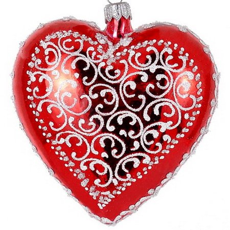 "4 Inch (4"") Heart Shaped European Made Hand Painted Red Mouthblown Christmas Tree Ornament"