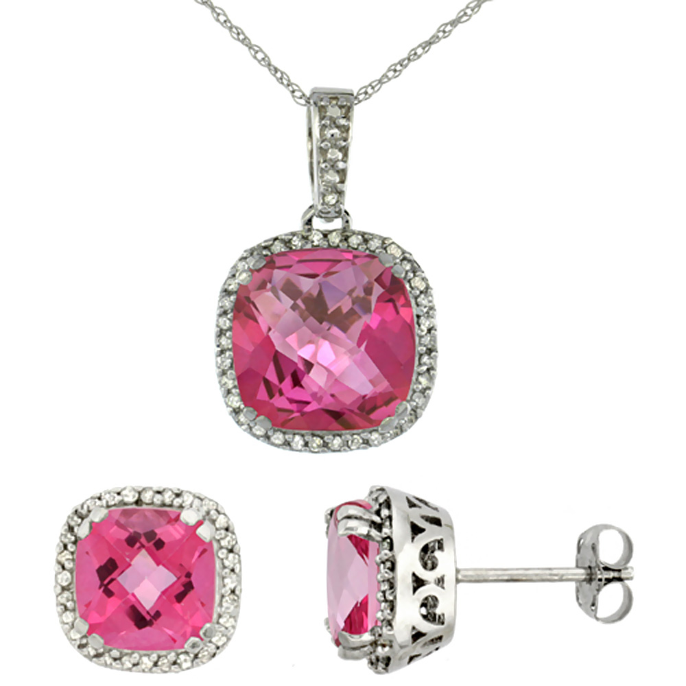 10K White Gold Natural Cushion Pink Topaz Earrings & Pendant Set Diamond Accents by WorldJewels