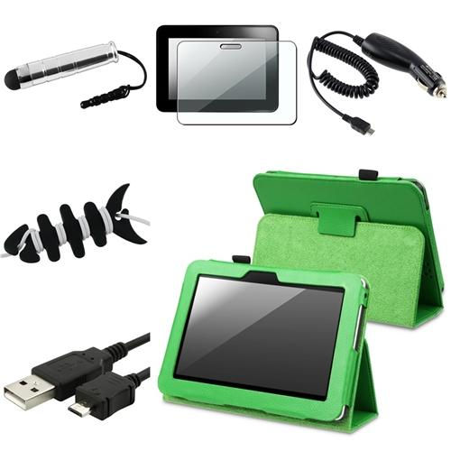 "INSTEN For Kindle Fire HD 7"" Leather Folio Case/3.5mm Stylus/Protector Green (designed for 2012 ver ONLY)(w/ Auto Wake)"
