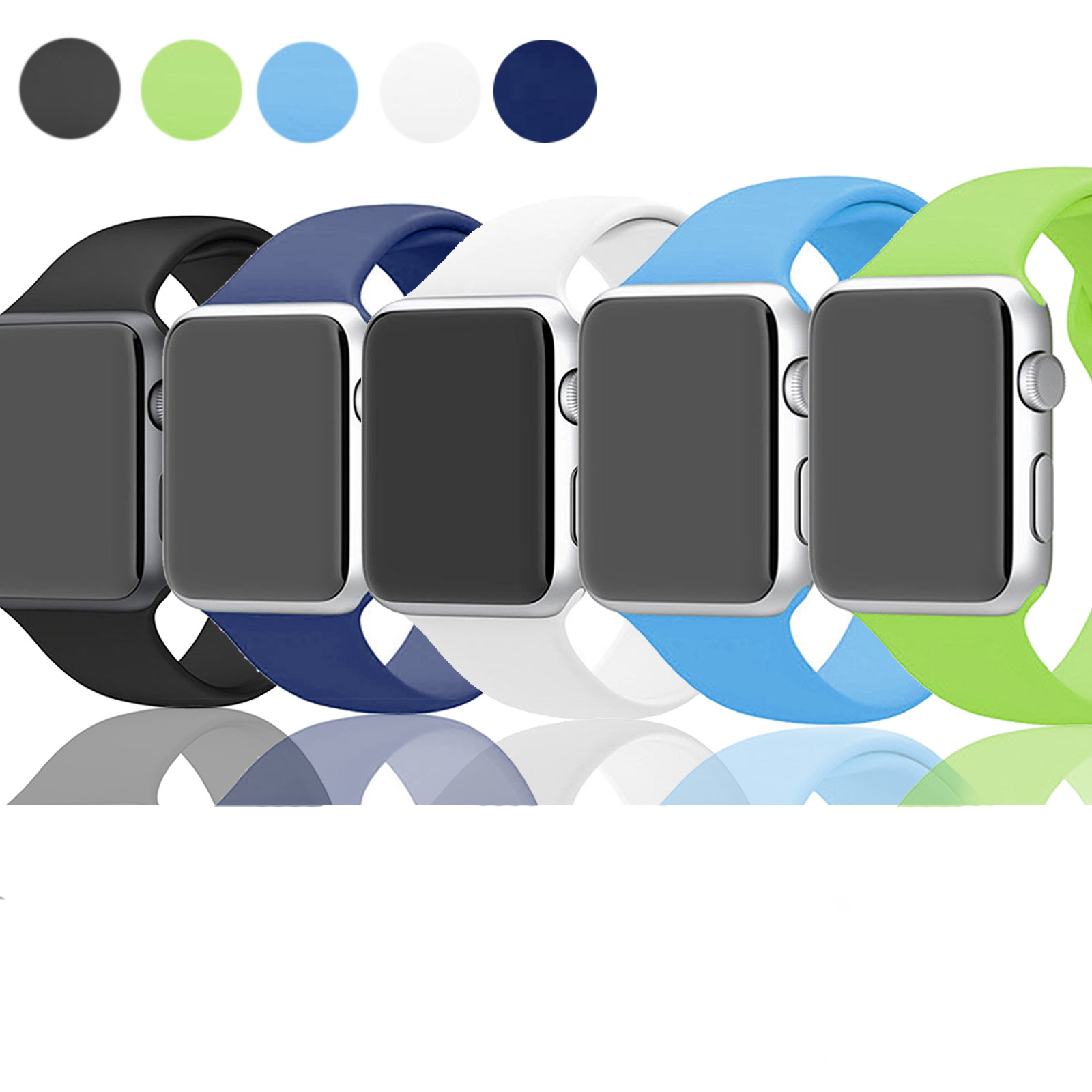 EEEKit 5PCS Soft Silicone Replacement Wrist Watch Band Strap for Apple Watch Sports & Edition Series 1 2 38mm