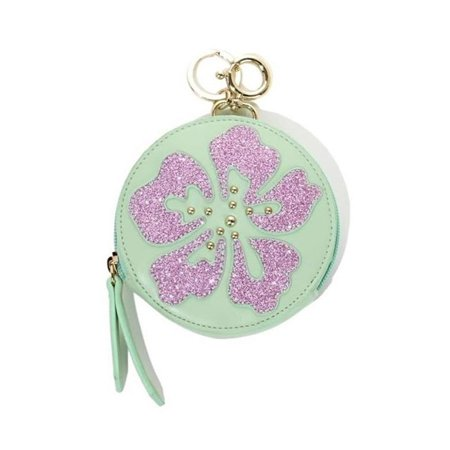 Sharif Hibiscus Flower Zip Coin Purse Keychain Bag Charm Wallet Womens Glitter Green Clucth Handbag Case Sale