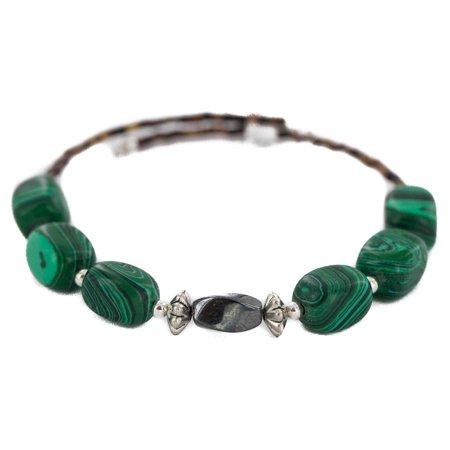 Certified Authentic Navajo Heishi Malachite Hematite Native American Adjustable Wrap Bracelet