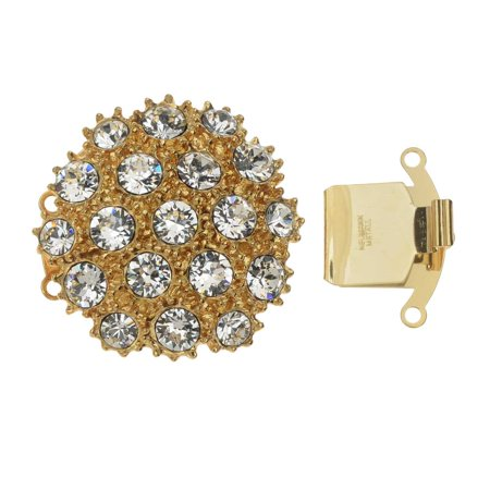 Elegant Elements, 3-Strand Round and Beaded Box Clasp with Swarovski Crystals 31mm, Gold Plated
